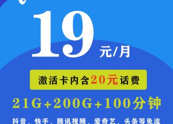 趣品味电信卡 19元包201G国内流量 卡内含20元话费 官方直销